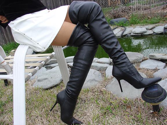 Black Thigh High PU 4 stiletto Boots